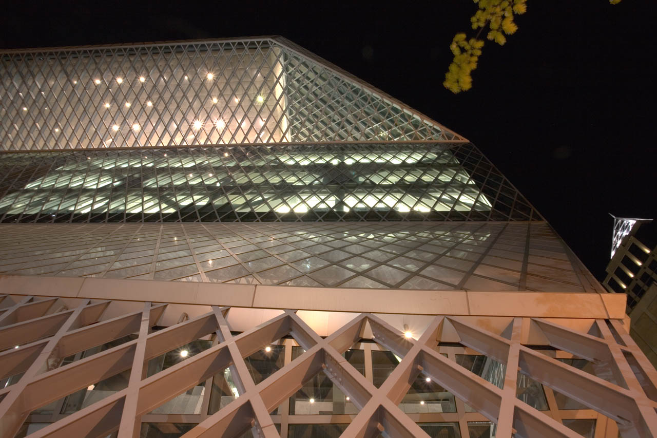 The Seattle Public Library at Night