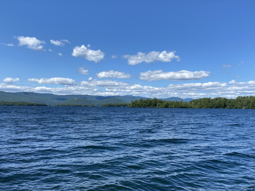 Squam Lake looking across the lake towards East and West Rattlesnake mountains.